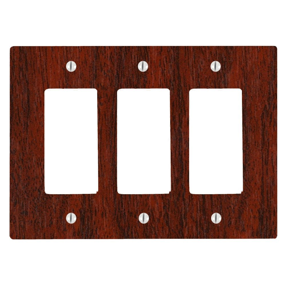 Cherry Wood-grain Design 3 Gang Decorator Dimmer Wall Plate (6.34 x 4.5in)