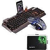FELiCON® Gaming Keyboard Mouse Set, M398 104 Keys Orange LED Backlit Ergonomic Gamer Keyboard+ Wired 3200DPI 6 Buttons USB Optical Gameing Mouse + Mousepad for PC Laptop Computer (Black Silver)