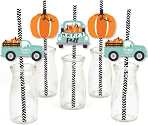 Big Dot of Happiness Happy Fall Truck - Paper Straw Decor - Harvest Pumpkin Party Striped Decorative Straws - Set of 24