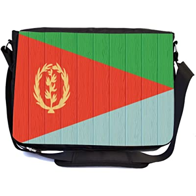 Rikki Knight Eritrea Flag on Distressed Wood Design Multifunction Messenger Bag - School Bag - Laptop Bag - with padded insert for School or Work - includes Pencil Case