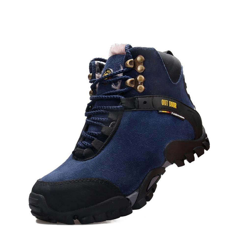 WDGT Herren Draussen Klettern Stiefel Original Leder Innen Samt Schnüren Wasserdicht Rutschfest Schuhe Warm Halten Leicht Dauerhaft zum Laufen Reisen Trekking Wandern Gehen Sport
