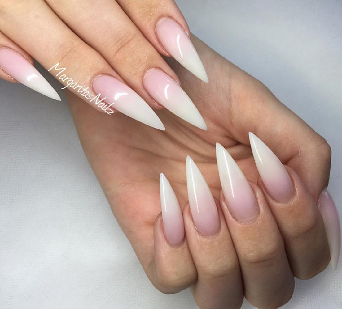 Long Pointy White Nails - Nail Ftempo