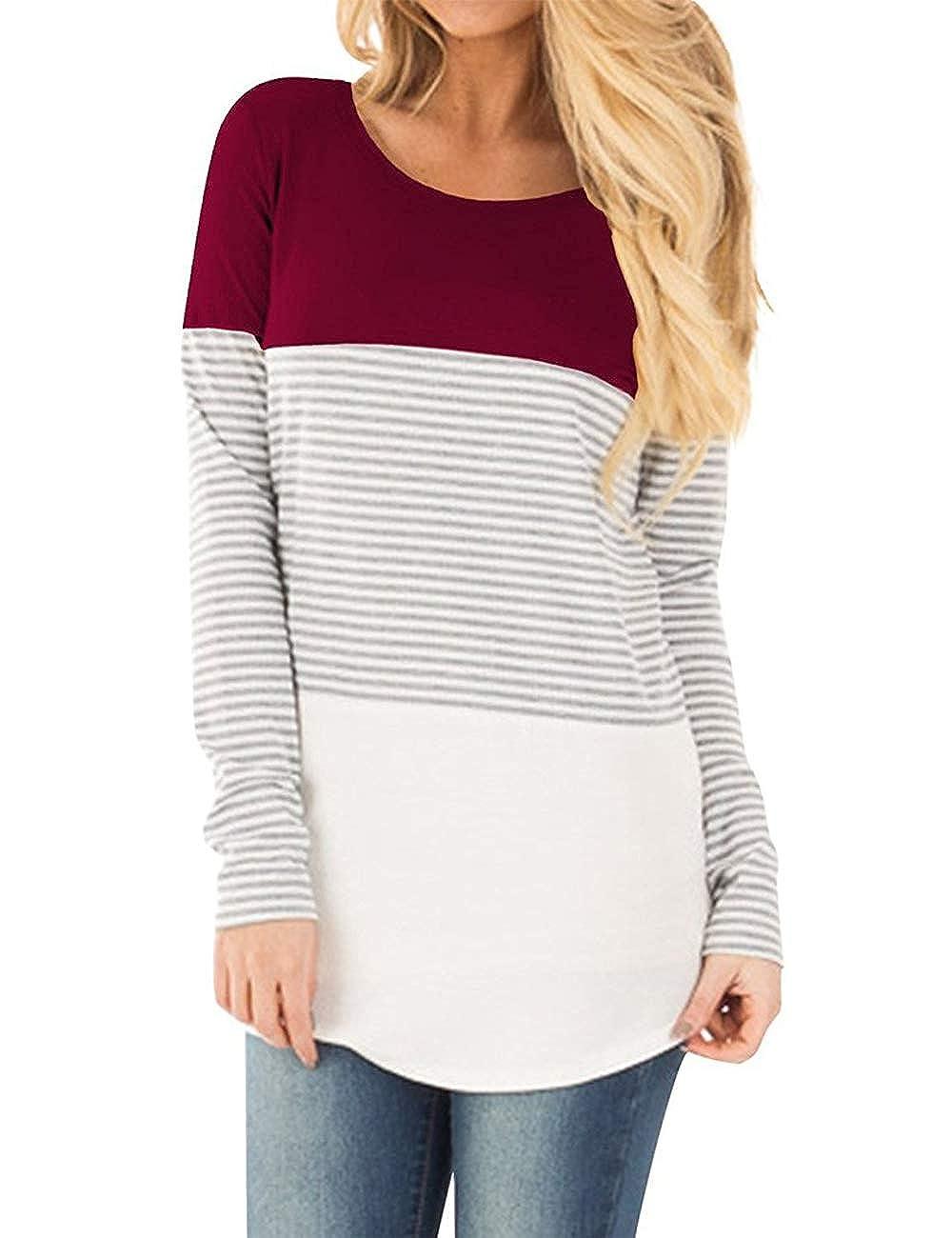 193e26fc8 Zhhlaixing Mamá Camiseta de enfermería Maternidad Lactancia Algodón Tops para  Mujer - Casual Striped Premamá T