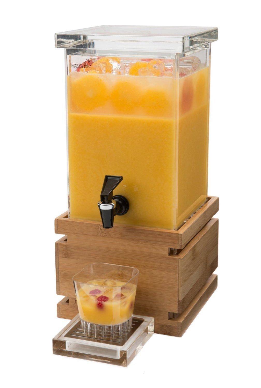 Rosseto LD116 Bamboo Base Rectangle Beverage Dispenser, 1-Gallon