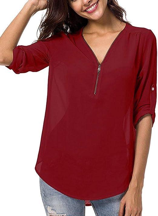 FuweiEncore Blusa Mujer Cuello de Manga Larga Camisa Tops (Color : Vino Rojo, tamaño : Small): Amazon.es: Hogar