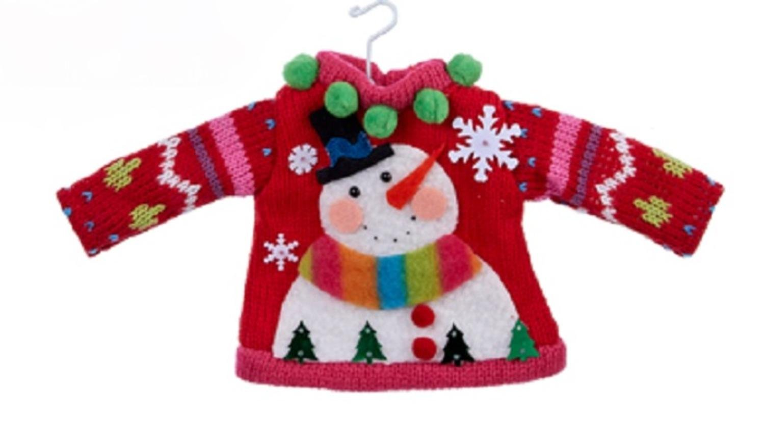 Ugly Snowman Sweater Christmas Ornament