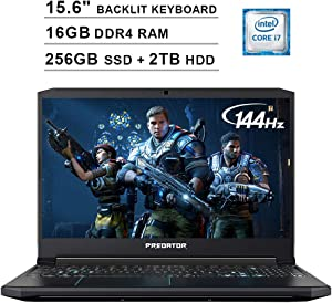Acer 2020 Predator Helios 300 15.6 Inch FHD Gaming Laptop (9th Gen Intel 6-Core i7-9750H up to 4.5 GHz, 16GB RAM, 256GB PCIe SSD + 2TB HDD, Backlit Keyboard, GTX 1660 Ti, WiFi, Bluetooth, Win 10)