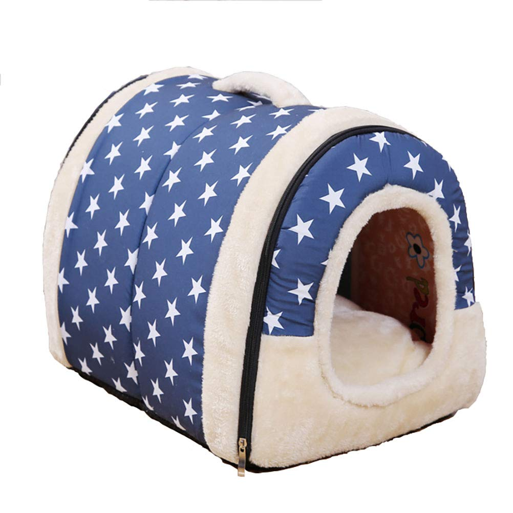 bluee M  14 x 14 x 18 Inch bluee M  14 x 14 x 18 Inch Cloudbehind 2 in 1 Pet House and Sofa Bed, Non-Slip Foldable Soft Warm Dog Cat Puppy Rabbit Pet Nest Cave Bed House with Removable Cushion (M  14 x 14 x 18 Inch, bluee)