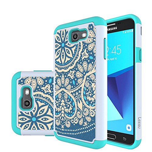 J7 V Case, J7 Perx Case, J7 Sky Pro Case, J7V Case, Galaxy Halo Case, J7 Prime Case, LEEGU Dual Layer Heavy Duty Protective Silicone Plastic Cover Case for Samsung Galaxy J7 2017 - Blue Flower