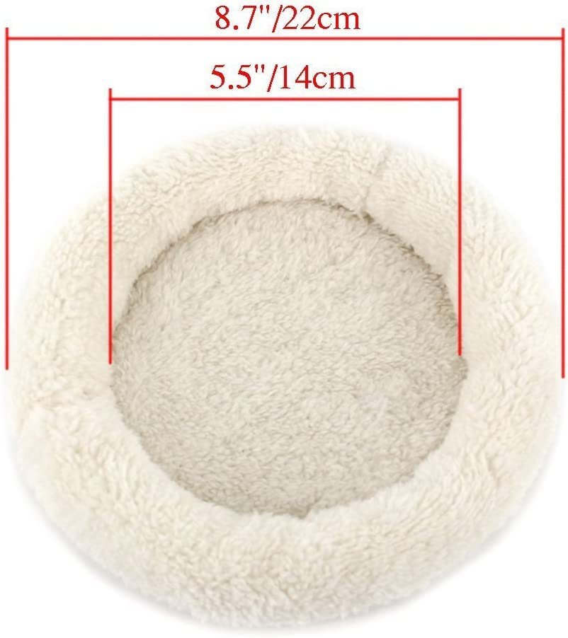 Hamster Bed Mat Circular Shaped Warm Soft Comfortable Washable PP+Velvet for Mice Guinea Pigs and Other Small Animals HongGun Hamster nest