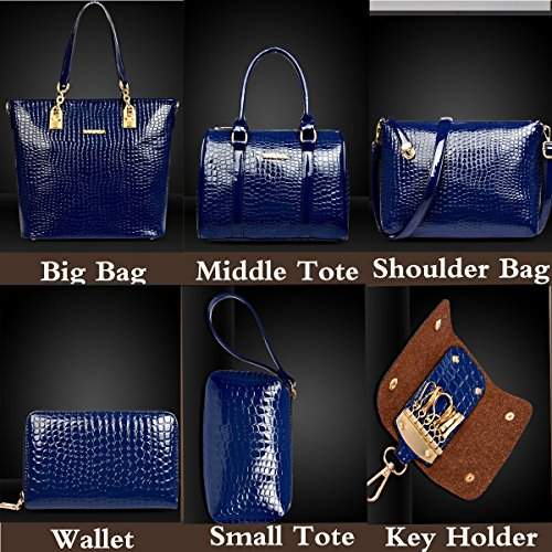 Dark Womens Purse Hobo Tote Totes and Clutch Shoulder Ladies Card Bag Bags Bag Crossbody 6 Set Satchels Top Handbag Handle Large FiveloveTwo Blue Pieces Wallet Holder SAxZqxw