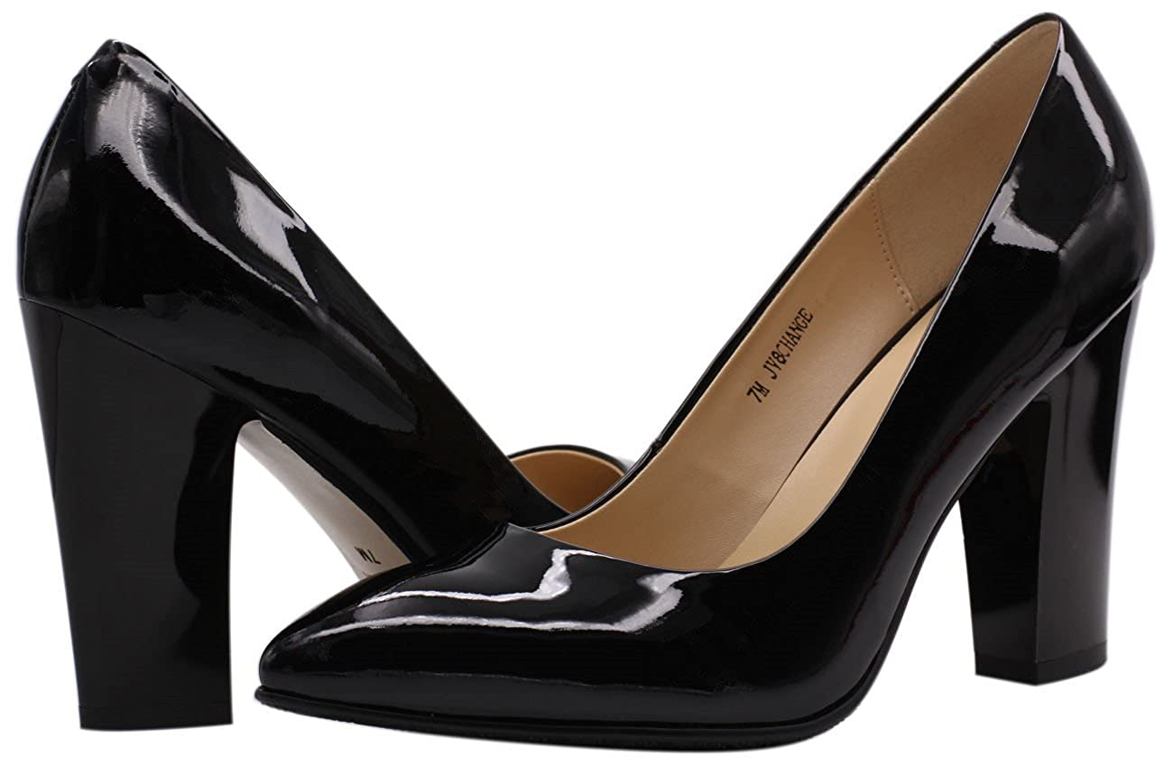 9c5892c36912 JARO VEGA Women s Chunky Heel Closed Pointed Toe Patent Leather Dress Pumps  Shoes  Buy Online at Low Prices in India - Amazon.in