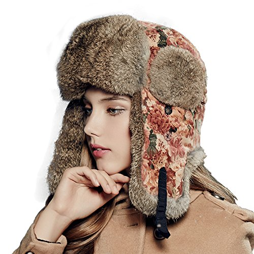 Kenmont Winter Outdoor Women Lady Natural Rabbit Fur Bomber Aviator Hat Ski Cap (Red)