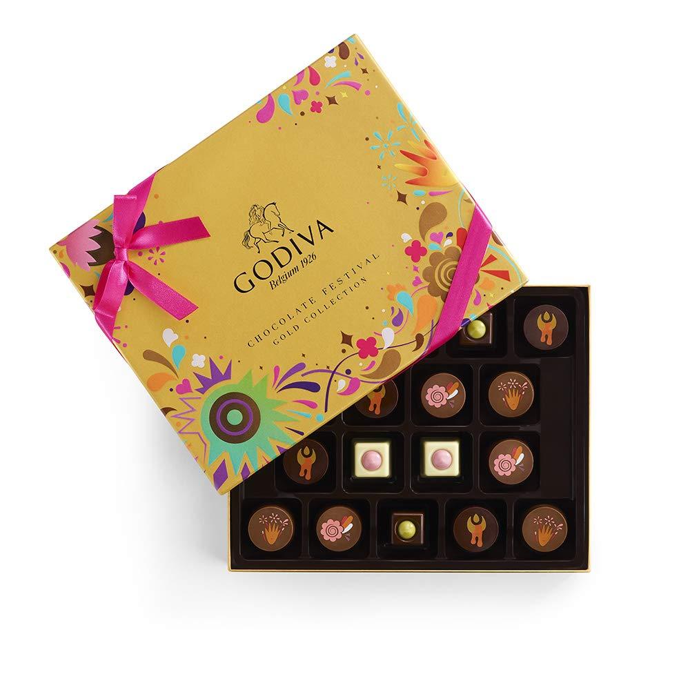 Godiva Chocolatier Assorted Chocolate Festival Gift Box, Chocolate Assortment, Gourmet Chocolate, Chocolate Gifts, 18 pc, 8 Ounce by GODIVA Chocolatier