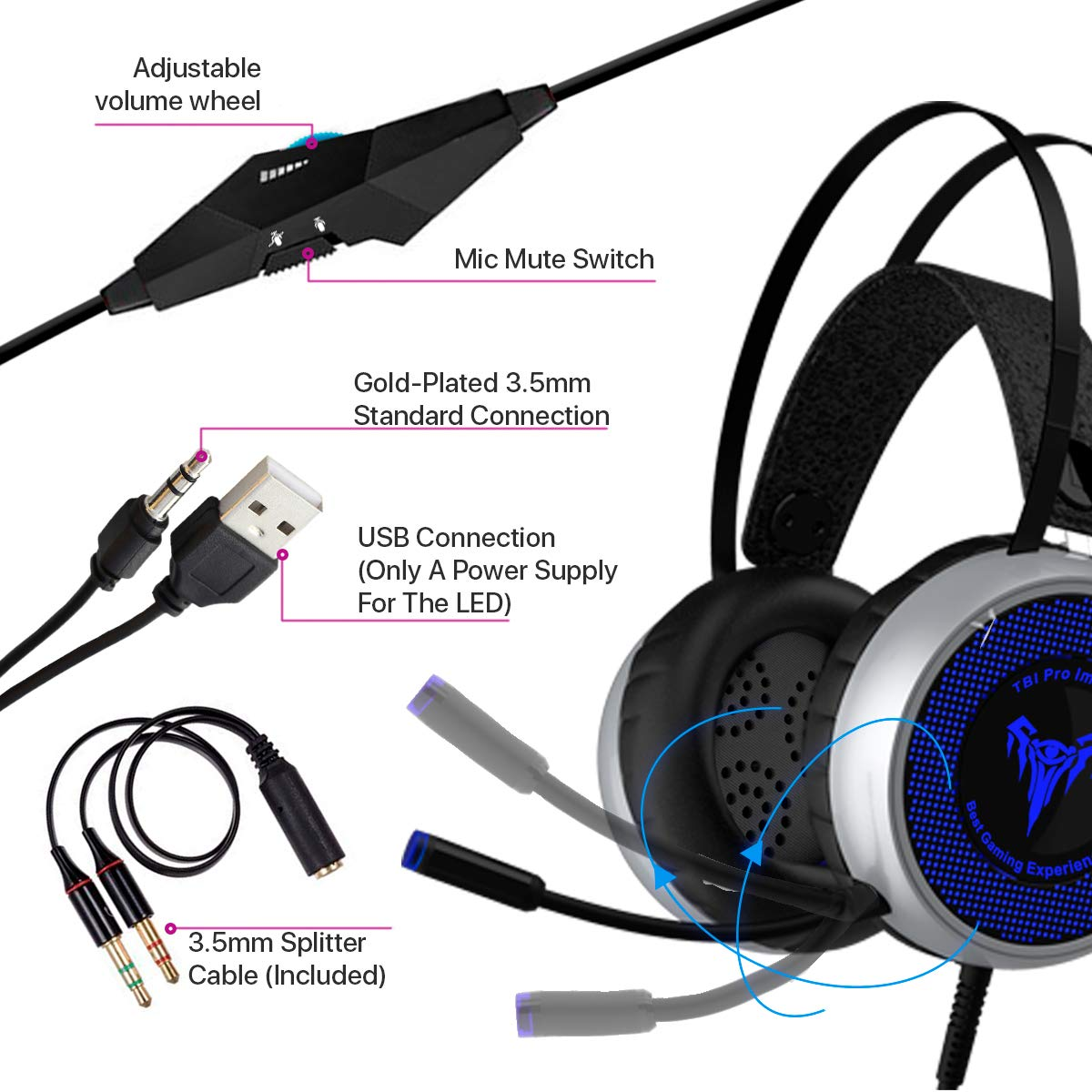 [Newest 2019] Gaming Headset for Xbox One, S, PS4, PC with LED Soft Breathing Earmuffs, Adjustable Microphone, Comfortable Mute & Volume Control, 3.5mm Adapter for Laptop, PS3, Nintendo by TBI Pro (Image #7)