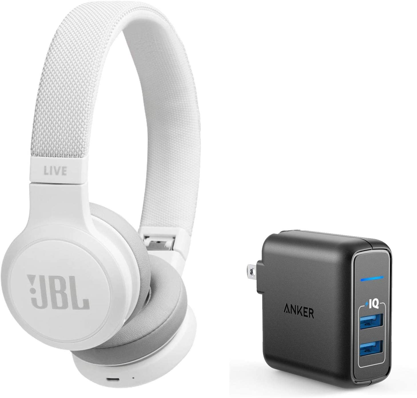 JBL Live 400BT On-Ear Wireless Bluetooth Headphones Bundle with Anker PowerPort Elite 2 Port USB Wall Charger - White