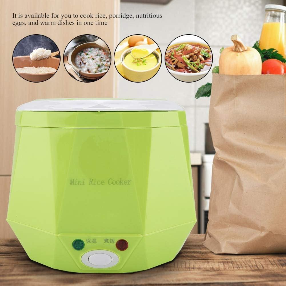 1.3L 12V Cuociriso per Auto Riscaldamento Lunch Box Vapore per Alimenti Fornelli Riso Bento Heater Scatola Pranzo Riscaldamento per il Conducente del Car (White) Green
