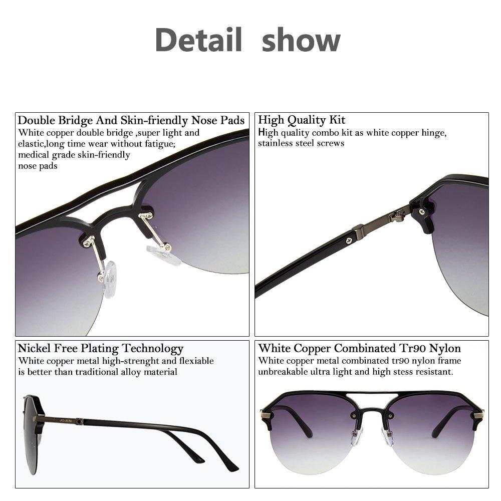 42c39f8c6a0 Amazon.com  JOJEN Fashion Polarized aviator Sunglasses for men women  Metal TR90 TAC JE0013(Black Frame Grey Lens)  Clothing