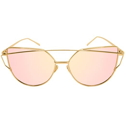 cad91719698 Fate Crew Cat Eye Flat Aviator Mirrored Lenses Metal Frame Sunglasses (pink)
