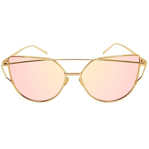 f61e47fa7de9 Fate Crew Cat Eye Flat Aviator Mirrored Lenses Metal Frame Sunglasses (pink)