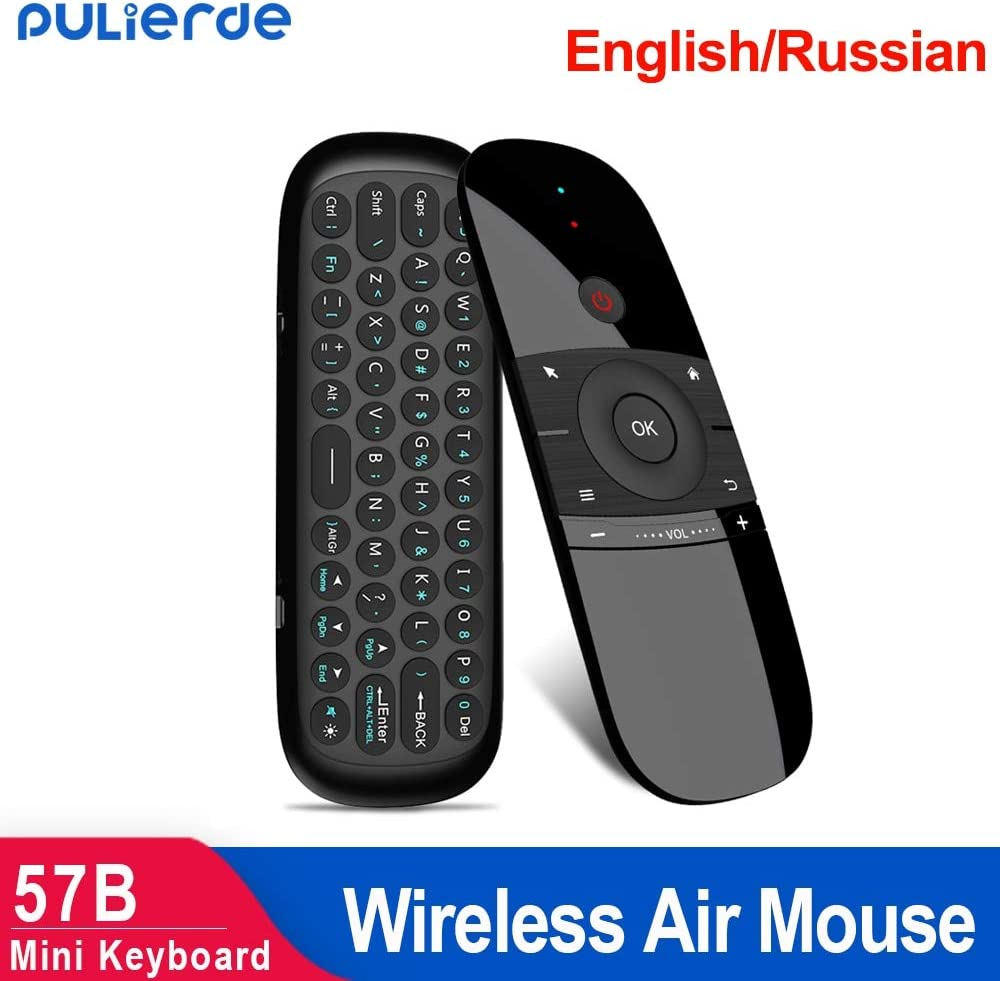 Calvas 57B Air Mouse 2.4GHz wireless Mini Keyboard English Russian Remote Control For TV Box Mini Pc gamer projector Color: English