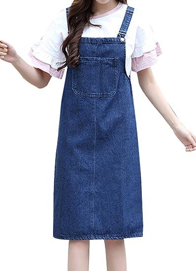 64d73890ac Yasong Women Girls Long Suspender Skirt Denim Dungarees Dress Pinafore  Overalls Dark Blue UK 4