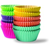 Bahoki Essentials 300 Piece Rainbow Colored Paper Baking Cups - Cupcake, Muffin, and Mini Cake Liners , Assorted Cake Wrappers