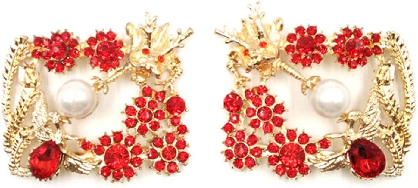 BASSK 2 pi/èces//ensemble de clips de chaussures Chine Dragon Phoenix strass paillettes exquis clip de luxe dames de mariage mari/ée haute talons d/écoration