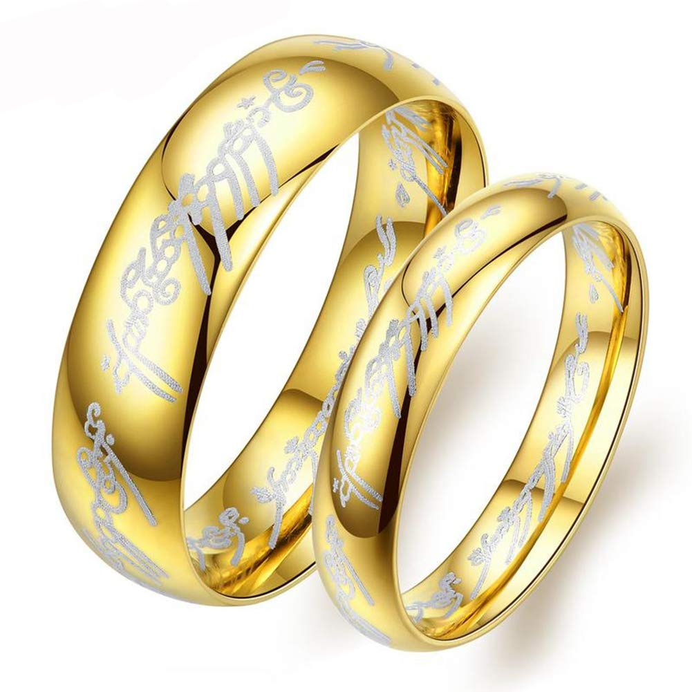 SAINTHERO Stainless Steel Pure Full Gold Dome Matching Couple Wedding Rings Band for Him and Her Sets High Polish