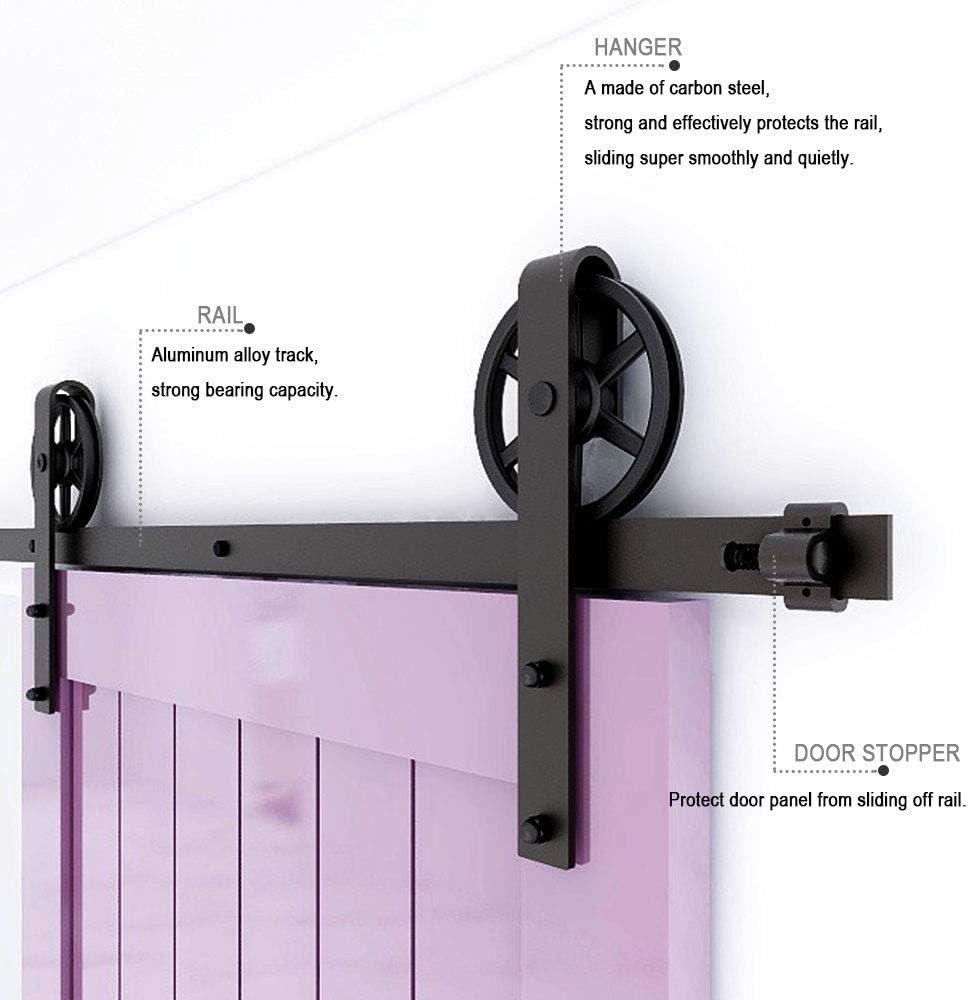 TSMST 5FT//152CM Sliding Barn Door Hardware Kit Closet Track Roller Accessory Adjustable Floor Guide