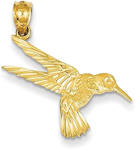 14k Yellow Gold Diamond Cut Hummingbird Charm Pendant 25mmx13mm