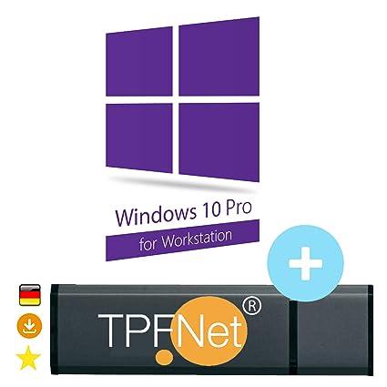 Microsoft® Windows 10 Pro Workstation 32 bit & 64 bit - Original  Lizenzschlüssel mit bootfähigen USB Stick von - TPFNet®