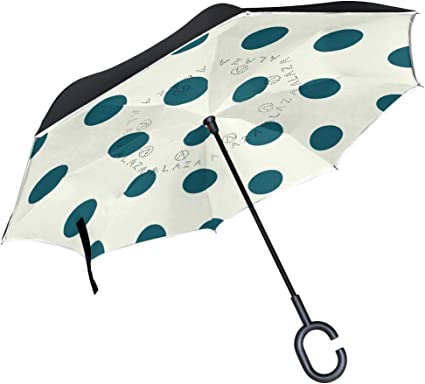 FAJRO Aqua Blue Polka Dot Cars Reverse Umbrellas Double Layer Inverted Umbrella Windproof UV Protection Polyester Upside Down Straight Umbrella for Car Rain with C-Shaped Handle
