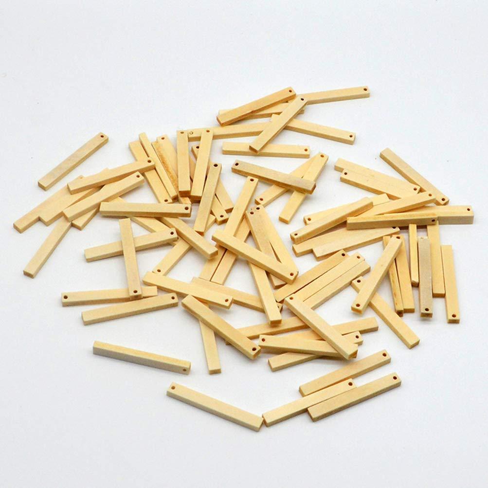 50 colgantes de madera largos con agujeros para joyas pendientes Heally bricolaje manualidades collares