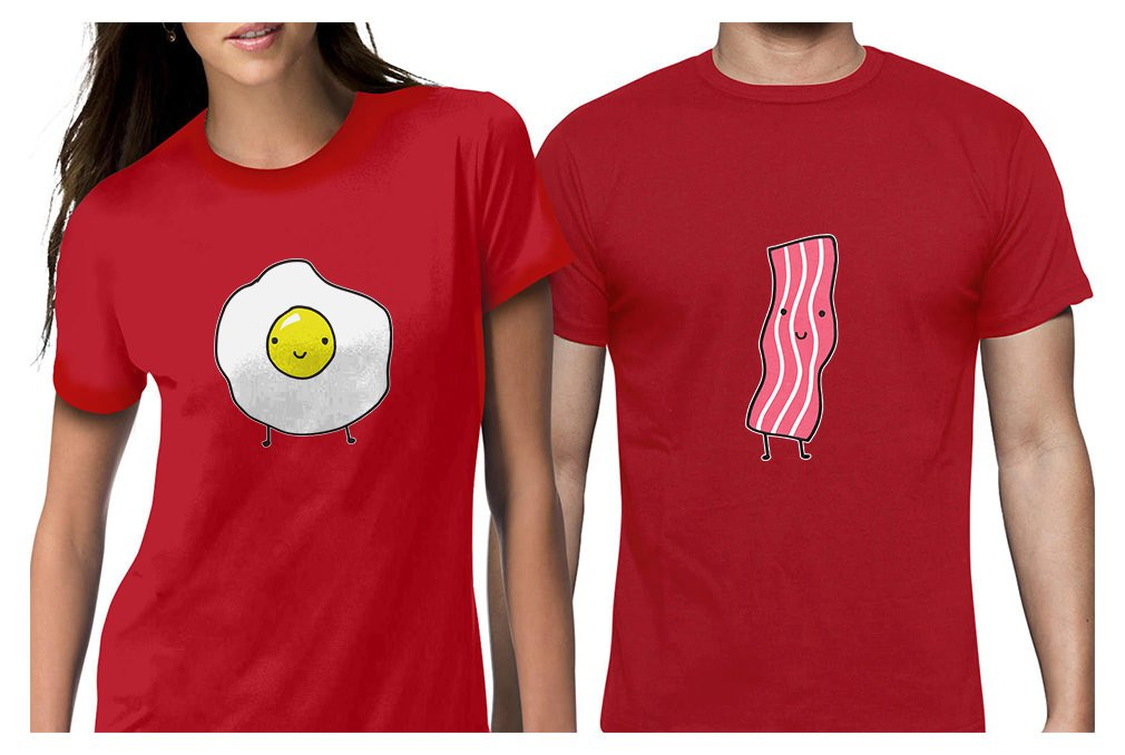 Tstars Bacon & Eggs Valentine's Day Gift For him & Her Funny Matching Couples T-Shirts Bacon Red X-Large/Eggs Red Small