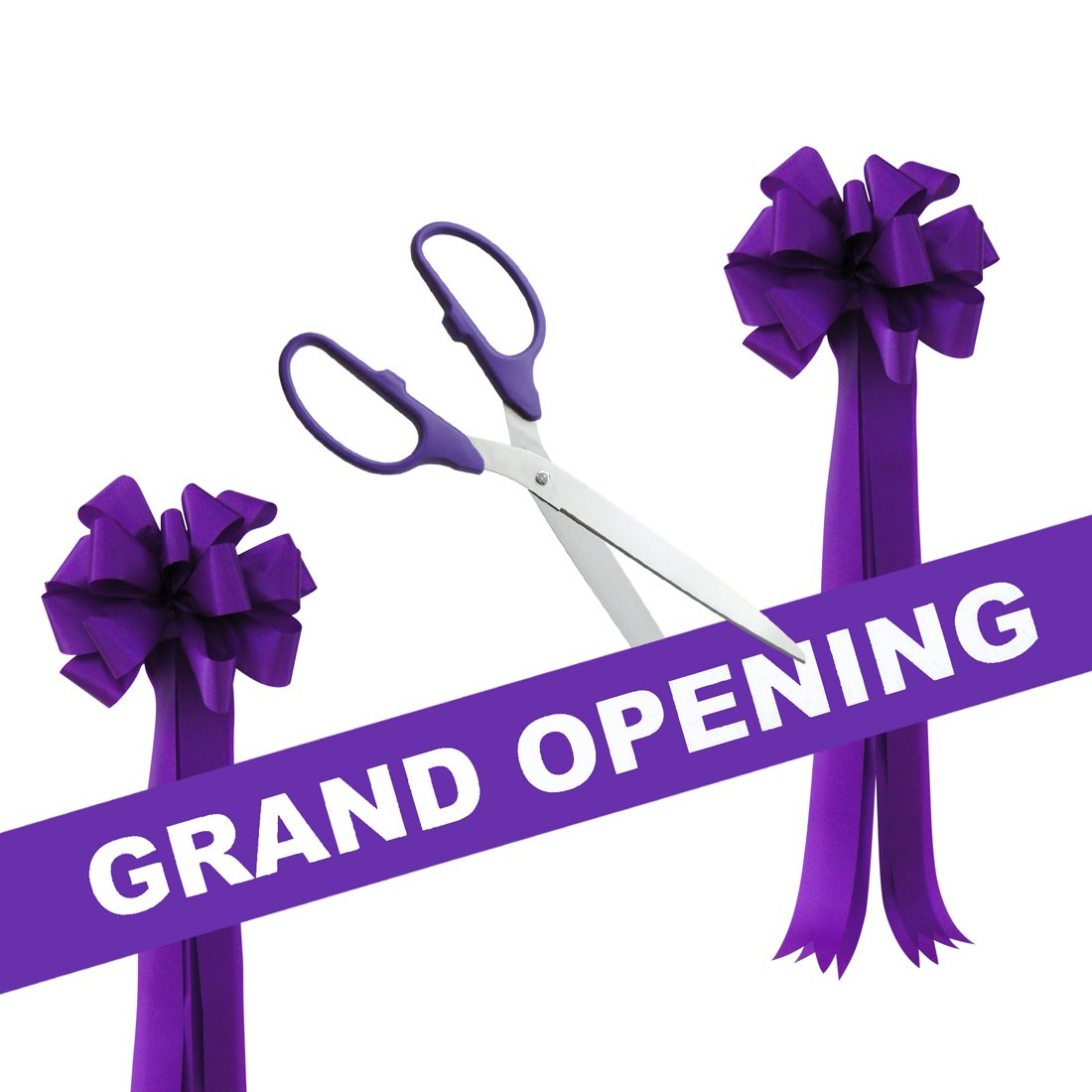 Grand Opening Kit - 25'' Purple/Silver Ceremonial Ribbon Cutting Scissors with 5 Yards of 6'' Purple Grand Opening Ribbon and 2 Purple Bows