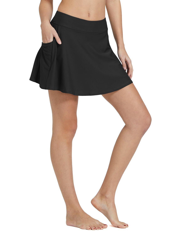 Baleaf Women's High Waisted Swim Skirt Bikini Tankini Bottom with Side Pocket Black Size M