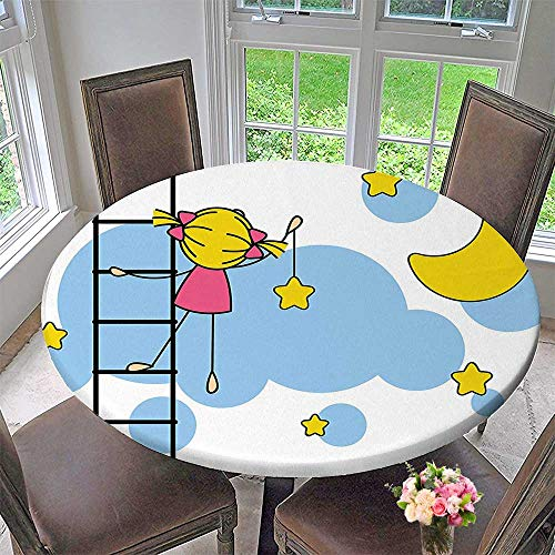 Mikihome Elasticized Table Cover Girl On Ladder Hanging A Star in The Night Sky with Half Yellow Blue Machine Washable 47.5