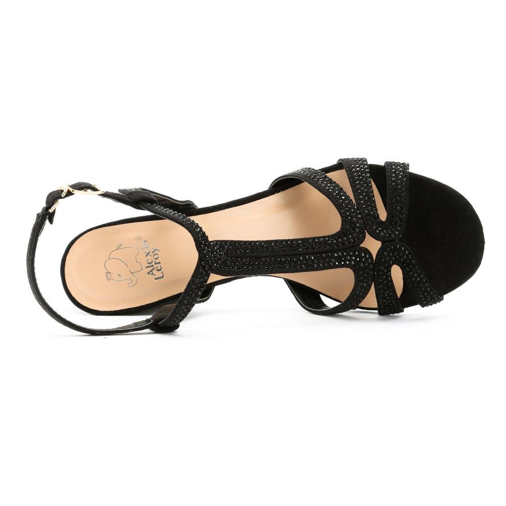12c865e21b3561 Alexis Leroy Chaussures Style Salomé avec Bride Cheville Sandales à Talon  carré Femme Noir 37 EU: Amazon.fr: Chaussures et Sacs