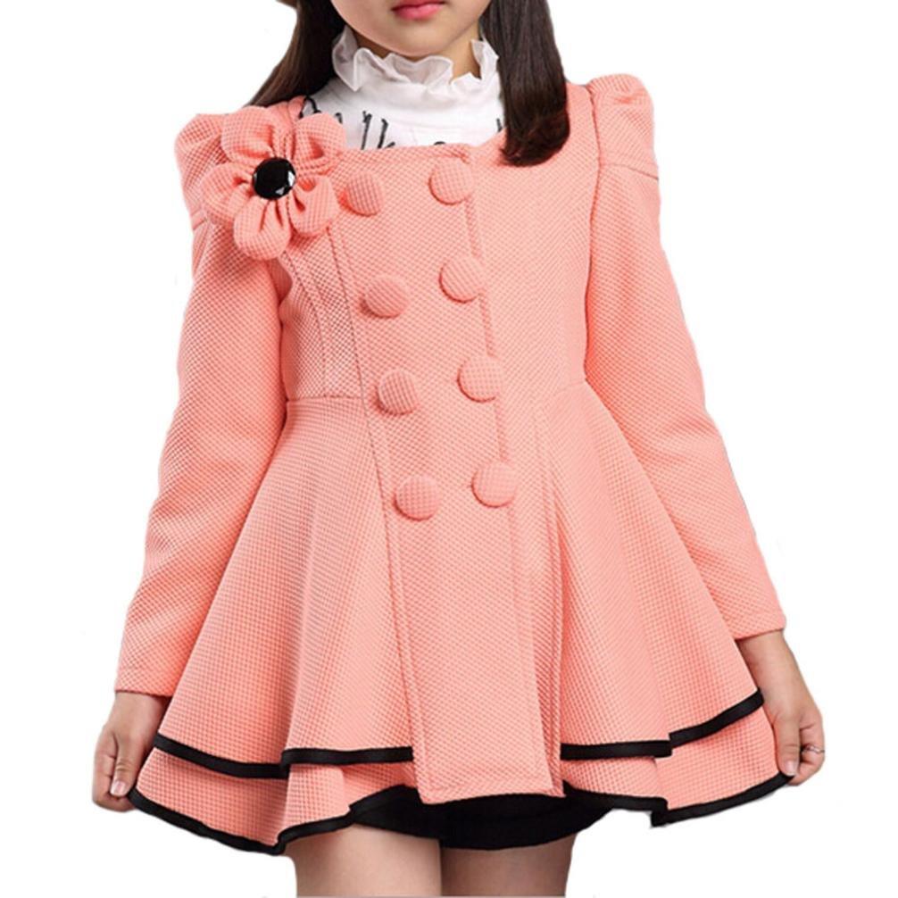 Bigger Girls Autumn Winter Fleece Coat Jacket Outerwear Clothes kids girls dress