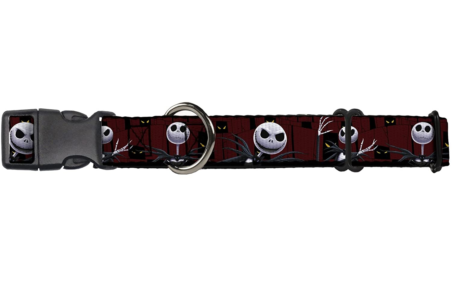 Buckle-Down Martingale Dog Collar Nightmare Before Christmas 3-Jack Poses Peeping Eyes Burgundy Black Yellow 1  Wide Fits 9-15  Neck Size Small