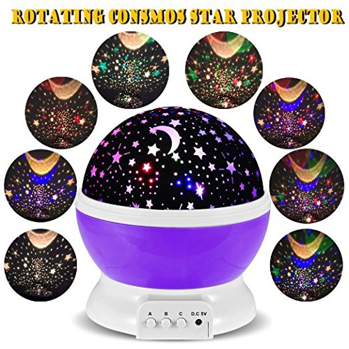 Price comparison product image Phonecase 3 Modes Rotating Star Light Projector, Rotation Night Projection Lamp Kids Bedroom Bed Lamp for Children(Purple)