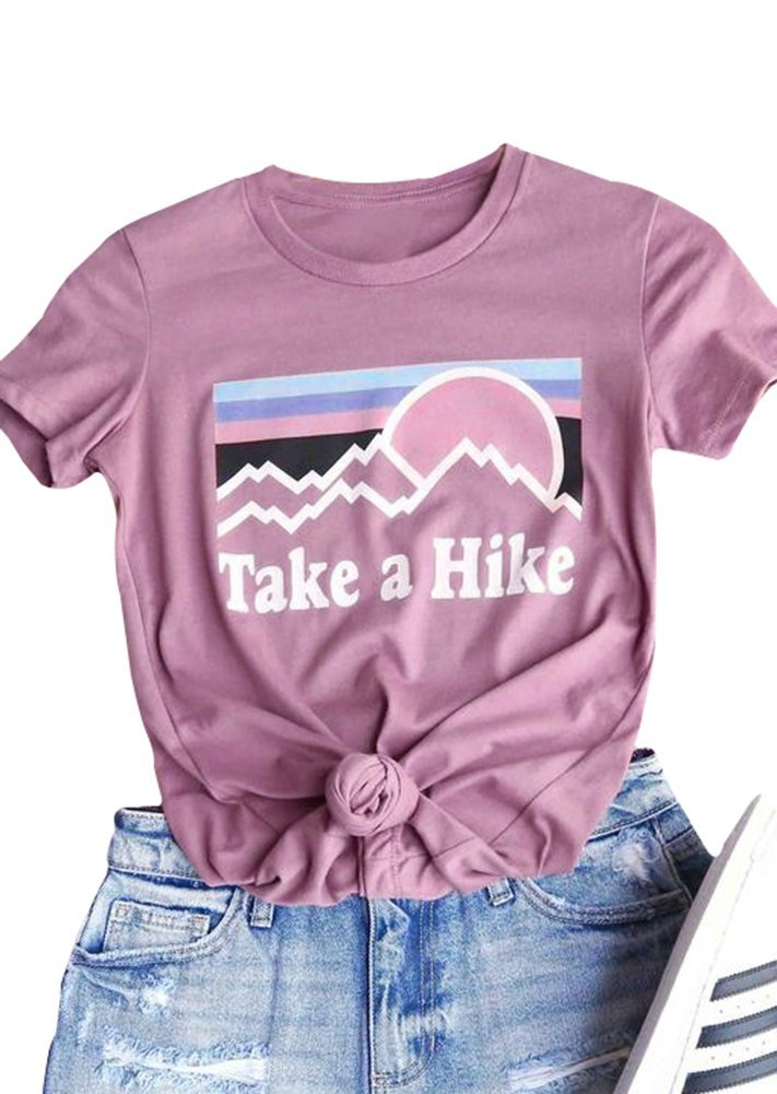 Women Take A Hike Letter Printed Casual T-Shirt Round Neck Tops (Pink, Medium)