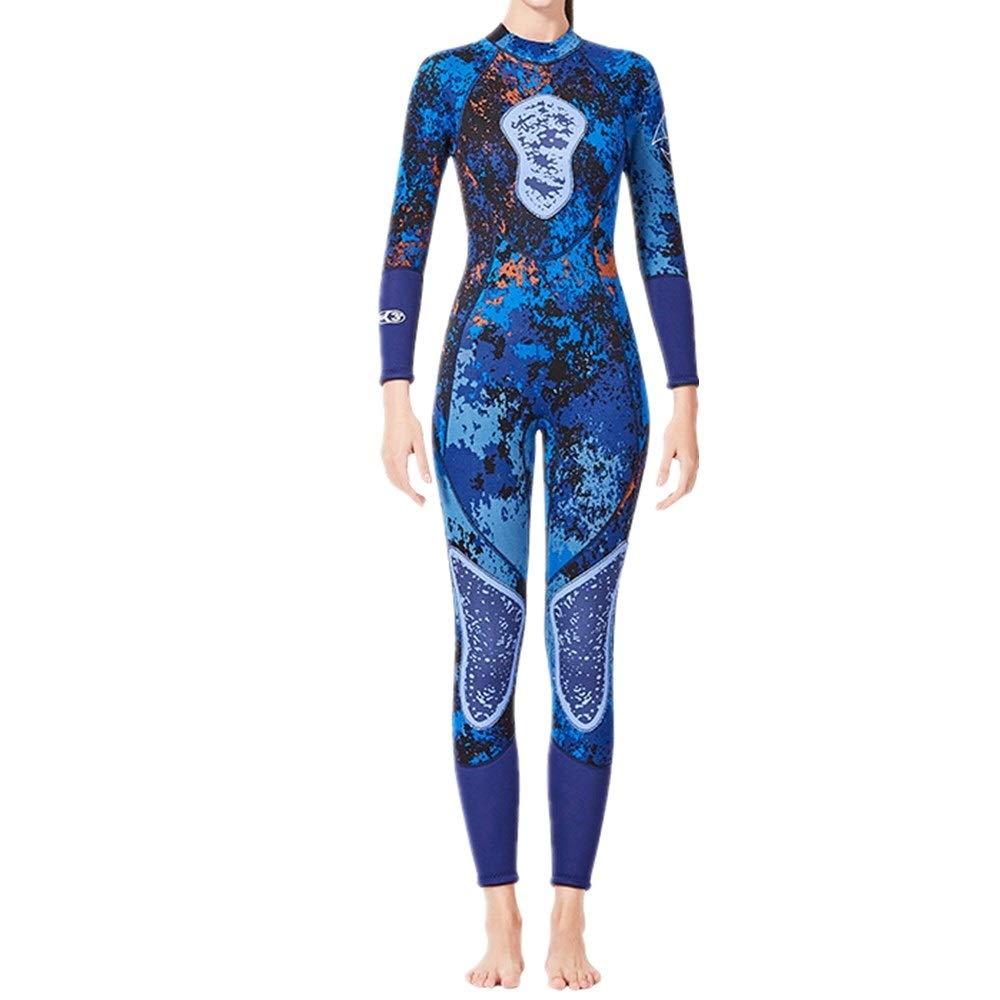女性のウェットスーツ 女性用フルスリーブウェットスーツ3mmネオプレンスイミングジャンプスーツ サーフィンウェットスーツ (Size : L)  Large