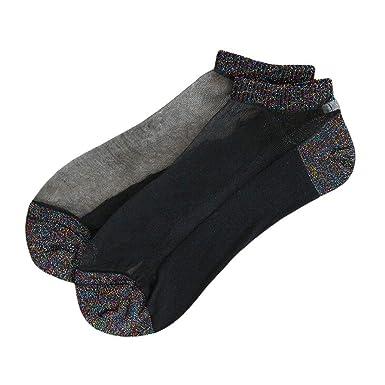 Foruu - Calcetines de verano para mujer, con purpurina y purpurina, transparentes y cortos