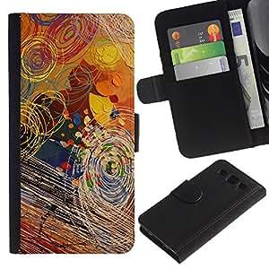 KLONGSHOP / Tirón de la caja Cartera de cuero con ranuras para tarjetas - Art Kids Random Surreal Pattern Paint - Samsung Galaxy S3 III I9300