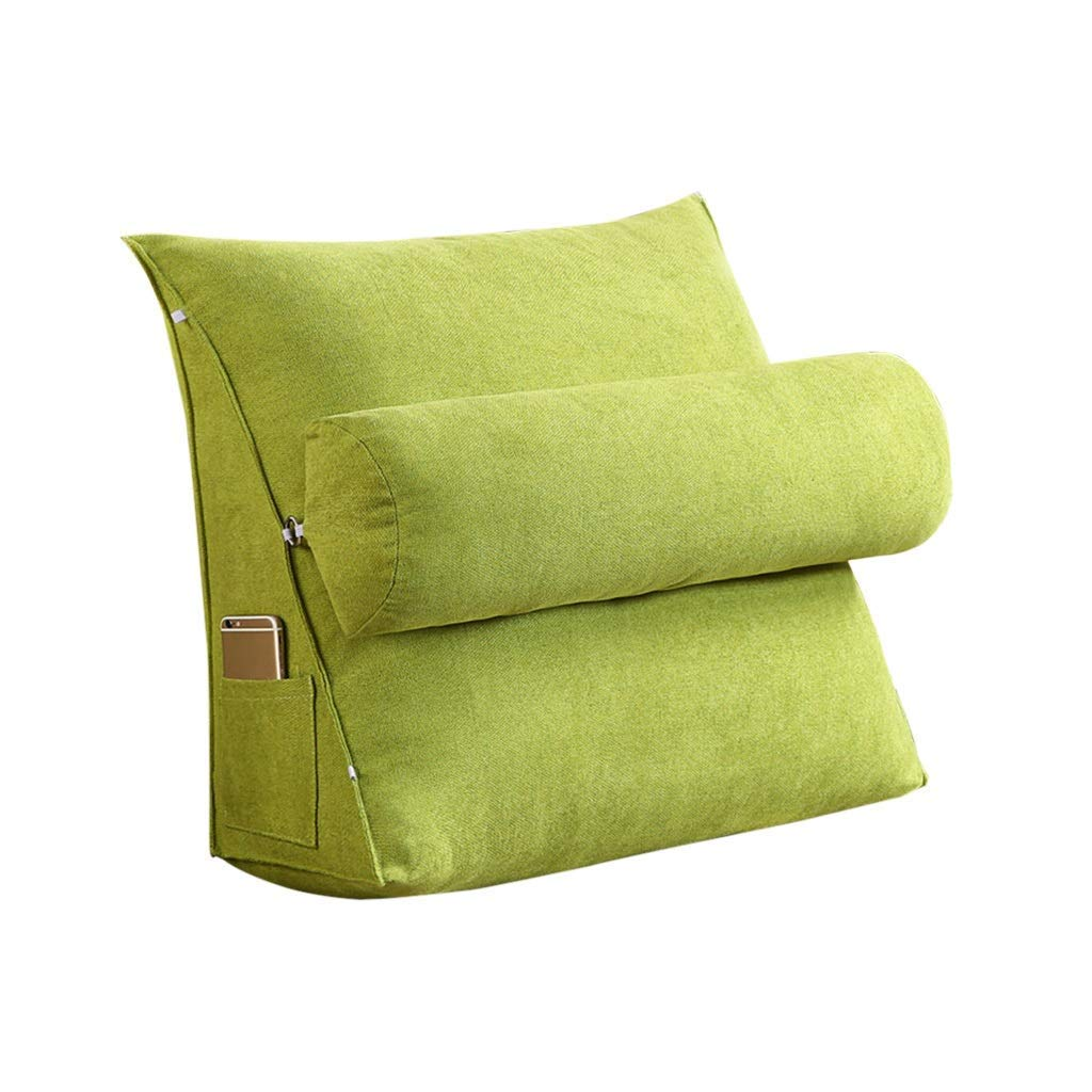 Lil Band Head Pillow Triangle Cushion, Sofa Office Bay Window Lumbar Pillow/Lumbar Support Waist/Pillow (can Be Adjusted in Three Steps) (Color : Green, Size : 60x50x20cm)