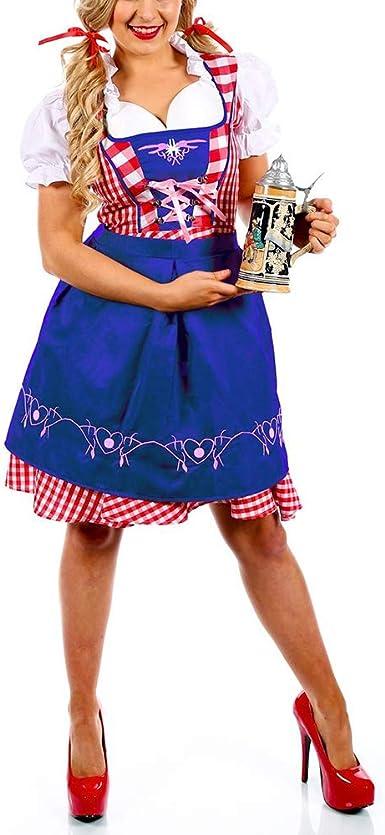 Tanwenling33 Mujer Vestido Dirndl Disfraz Blouse Trachten Traje ...