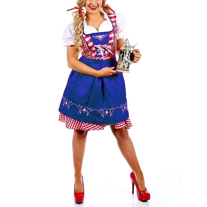 Tanwenling33 Mujer Vestido Dirndl Disfraz Blouse Trachten ...