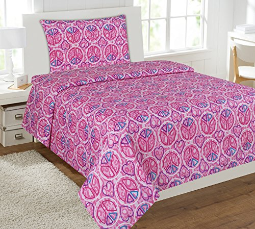Twin Size Mk Collection 3pc Sheet Set Pink Purple Heart Peac